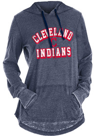 Cleveland Indians Womens Burnout Wash Hooded Sweatshirt - Navy Blue