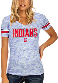 Cleveland Indians Womens Novelty Space Dye Stripe V T-Shirt - Navy Blue