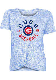Chicago Cubs Womens Novelty Space Dye Knot Crew T-Shirt - Blue