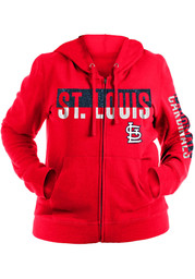 St Louis Cardinals Womens Brushed Full Zip Jacket - Red