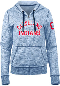 Cleveland Indians Womens Novelty Space Dye Full Zip Jacket - Navy Blue
