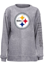 Pittsburgh Steelers Womens Cozy Crew Sweatshirt - Grey