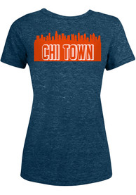 Chicago Bears Womens Skyline T-Shirt - Navy Blue