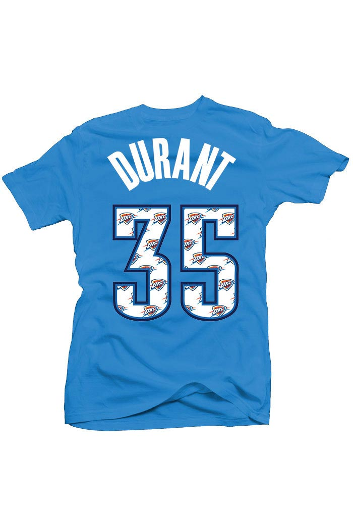 Kevin Durant Oklahoma City Thunder Womens Blue Repeating Logo Player T-Shirt - Image 1