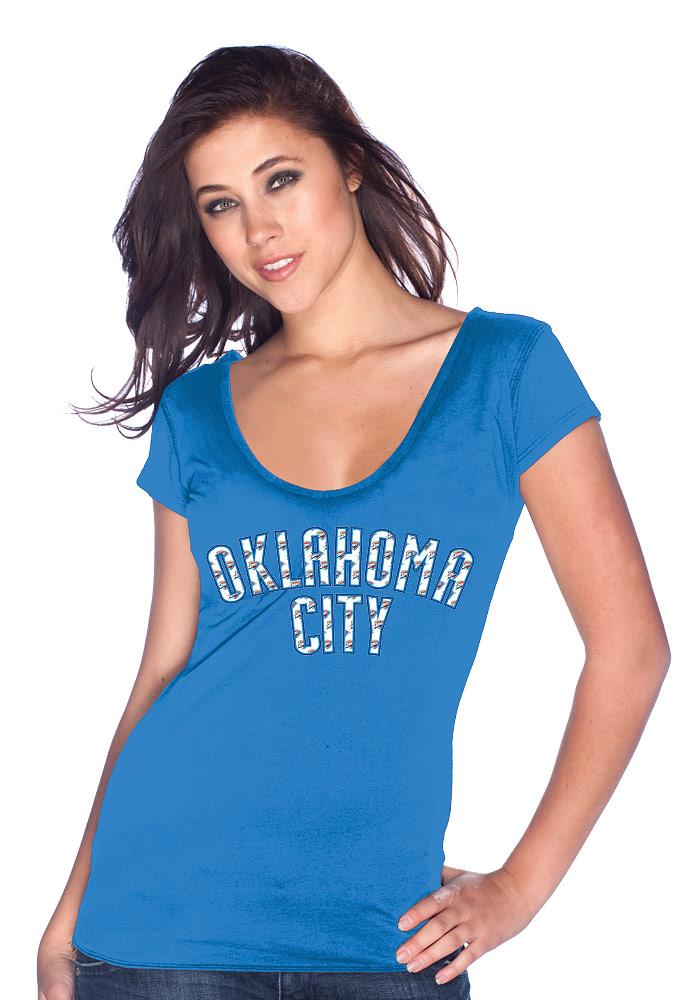 Kevin Durant Oklahoma City Thunder Womens Blue Repeating Logo Player T-Shirt - Image 3