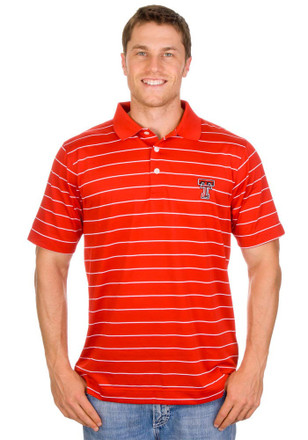 Cutter and Buck Texas Tech Red Raiders Mens Red Sweetenstripe Short Sleeve Polo Shirt