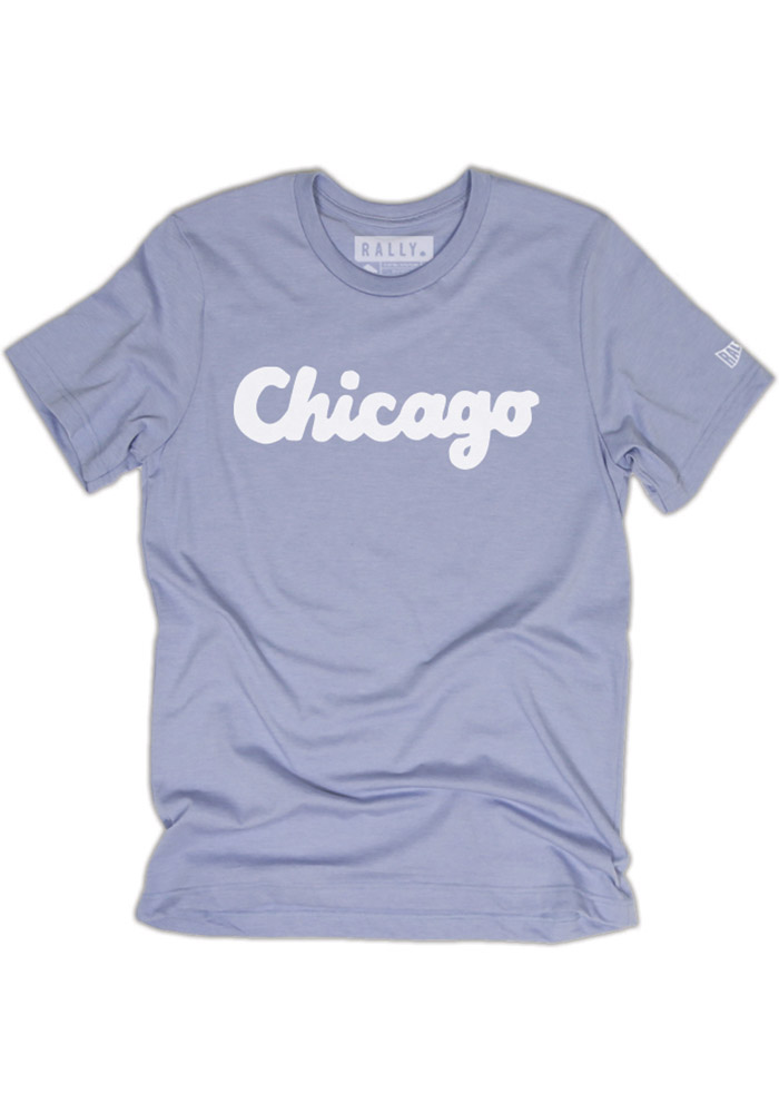 Rally Chicago Blue Script Short Sleeve Fashion T Shirt - Image 1