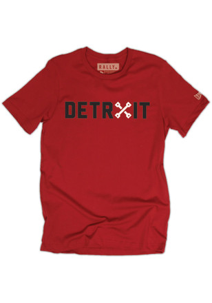 RALLY Detroit Local Stuff Shop Mens Red Piston Fashion Tee