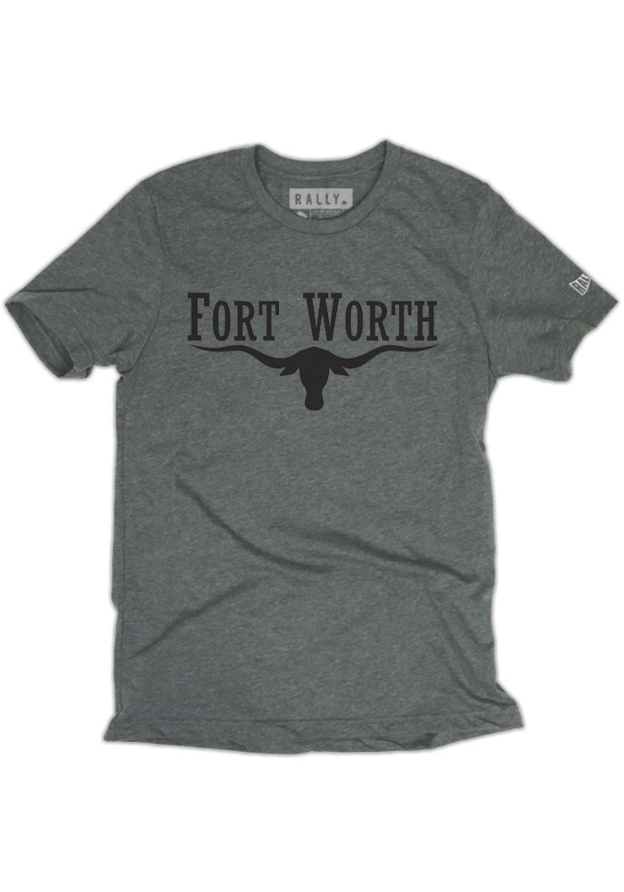 Rally Fort Worth Grey Longhorn Short Sleeve Fashion T Shirt - Image 1