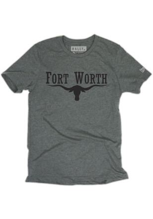 RALLY Mens Grey Fort Worth Horns Fashion Tee