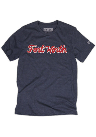 RALLY Mens Navy Blue Fort Worth Script Fashion Tee
