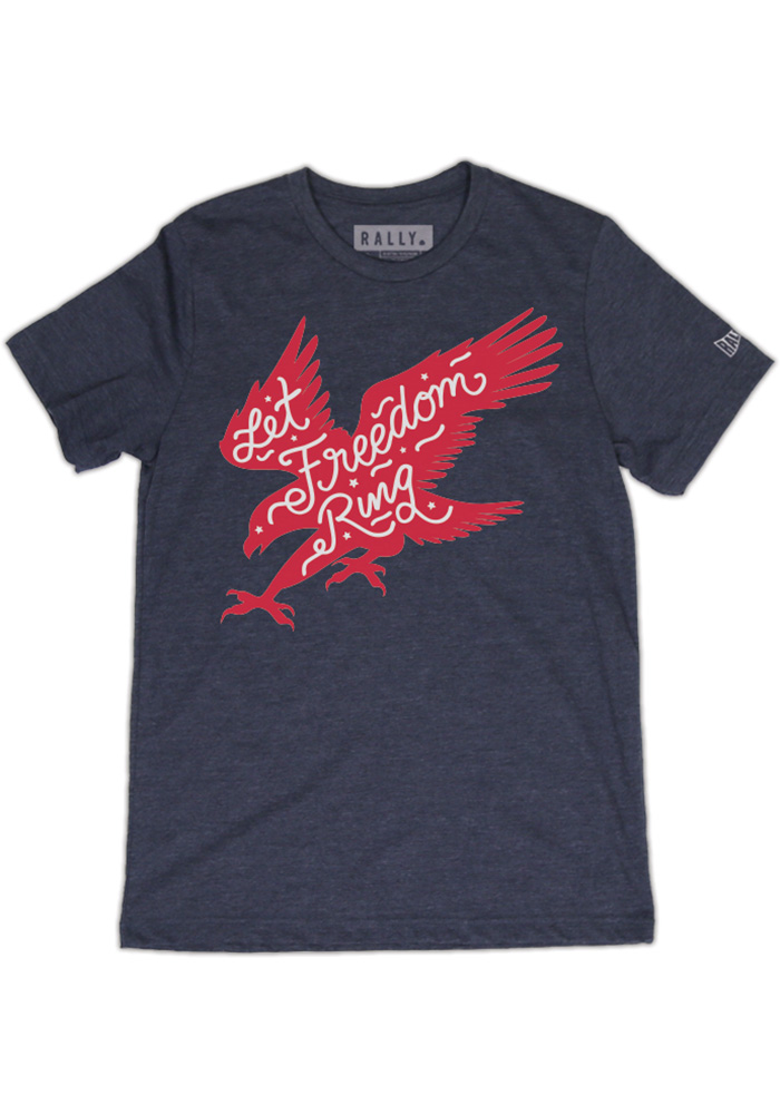 Rally Team USA Navy Blue American Eagle Short Sleeve Fashion T Shirt - Image 1
