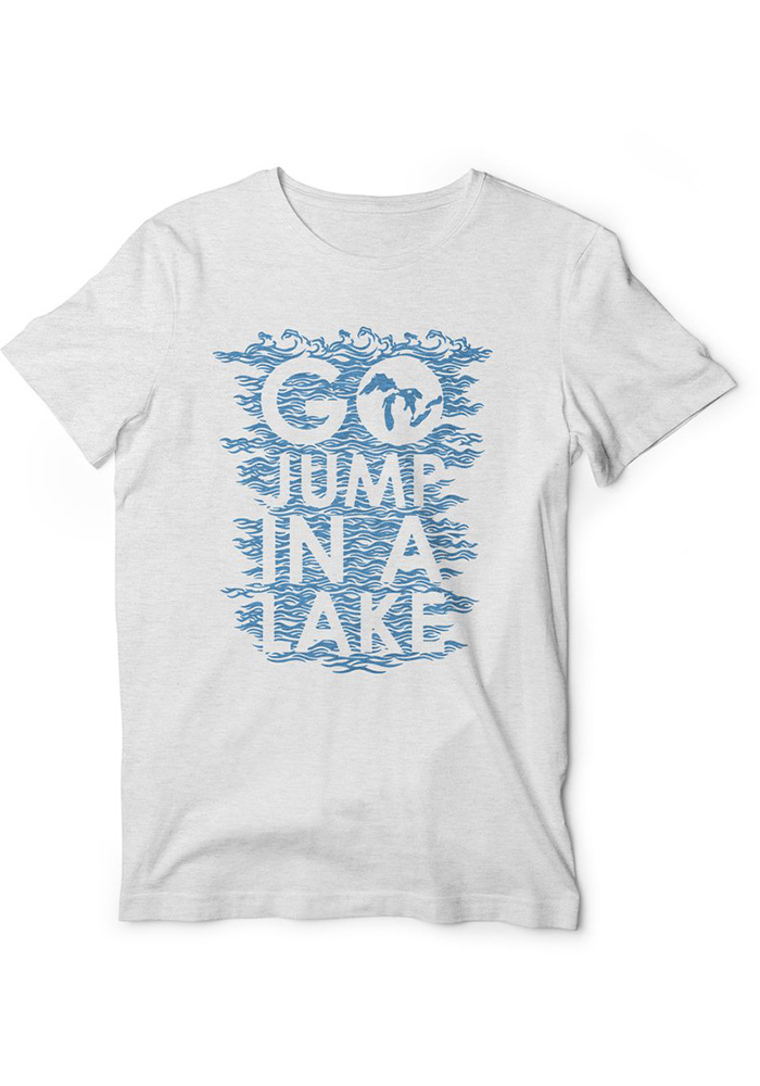 Ink Detroit Michigan White Go Jump In A Lake Short Sleeve T Shirt