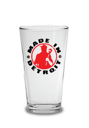 Made in Detroit Red & Black Pint Glass