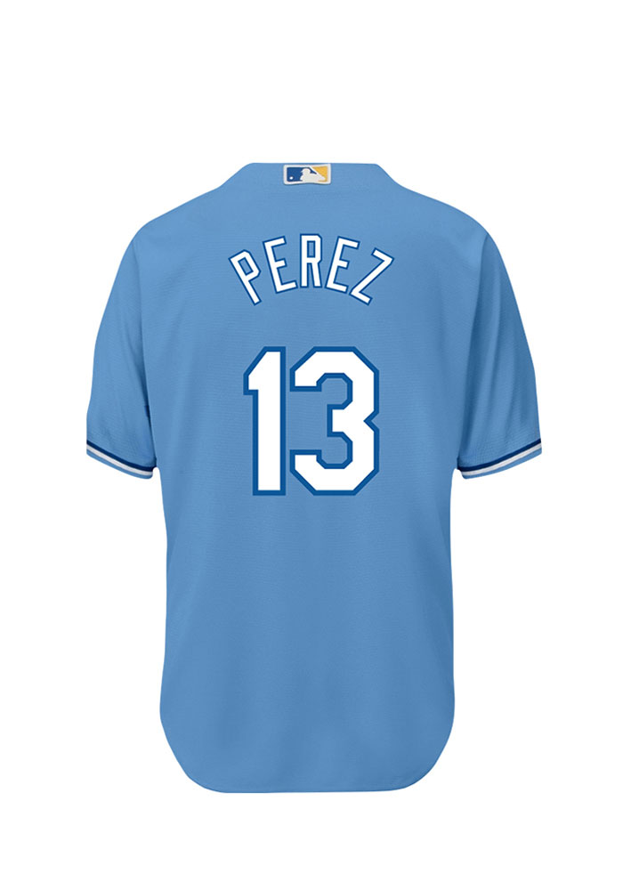 Salvador Perez 13 Kansas City Royals Mens Powderblue Player Replica Jersey - Image 1