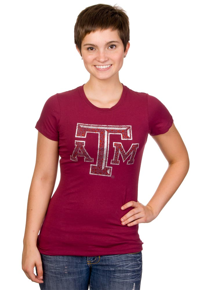 Texas A&M Aggies Womens Maroon Krista Scoop T-Shirt - Image 1