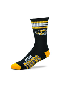 Missouri Tigers Duece Four Stripe Crew Socks - Black