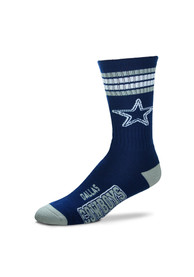 Dallas Cowboys Duece Four Stripe Crew Socks - Navy Blue