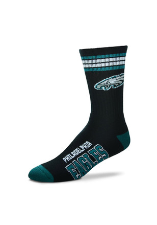 Philadelphia Eagles Mens Black Duece Four Stripe Crew Socks