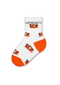 Cincinnati Bengals Toddler Allover Logo Quarter Socks - White