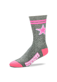 Dallas Cowboys Womens Neon Two Stripe Crew Socks - Grey