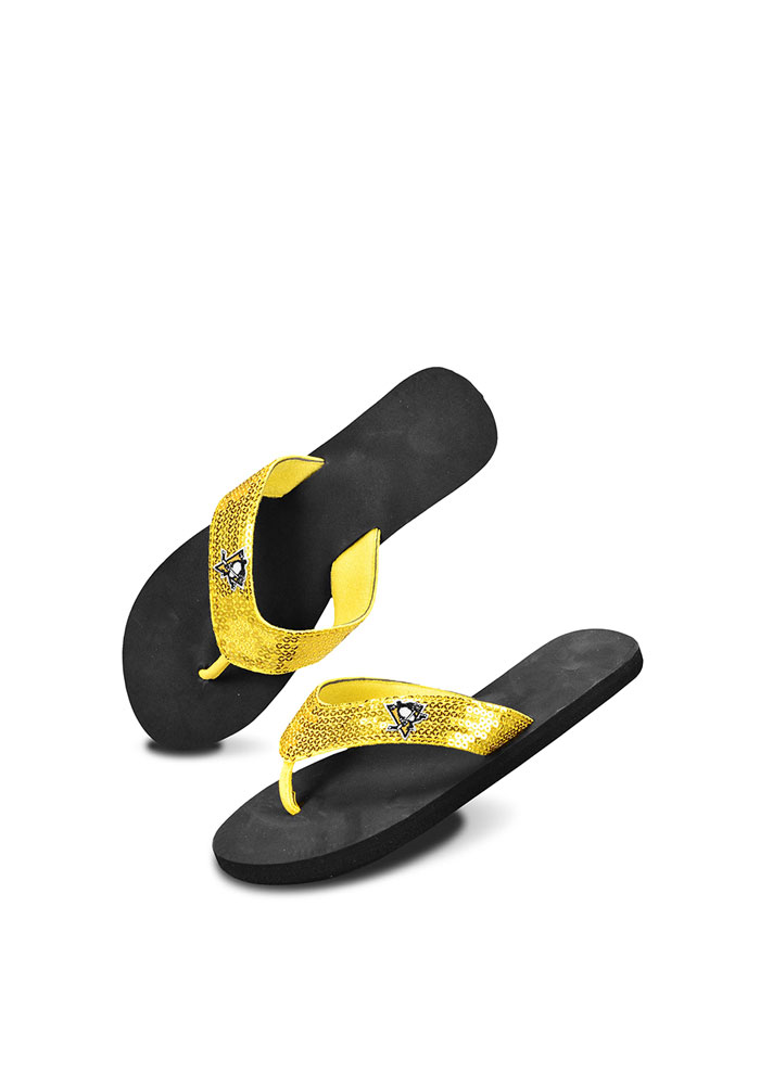 Pittsburgh Penguins Black and Gold Sequin Womens Flip Flops - Image 1