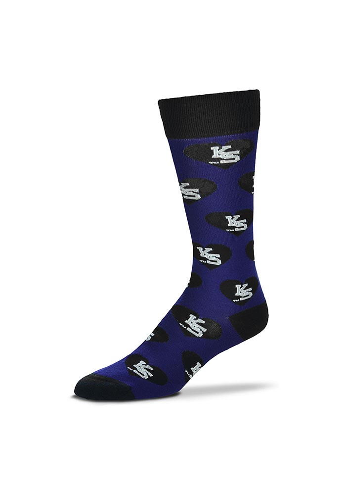 K-State Wildcats Team Logo Heart Womens Crew Socks - Image 1