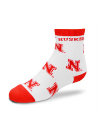 Nebraska Cornhuskers Baby Team Logo Pattern Quarter Socks - White