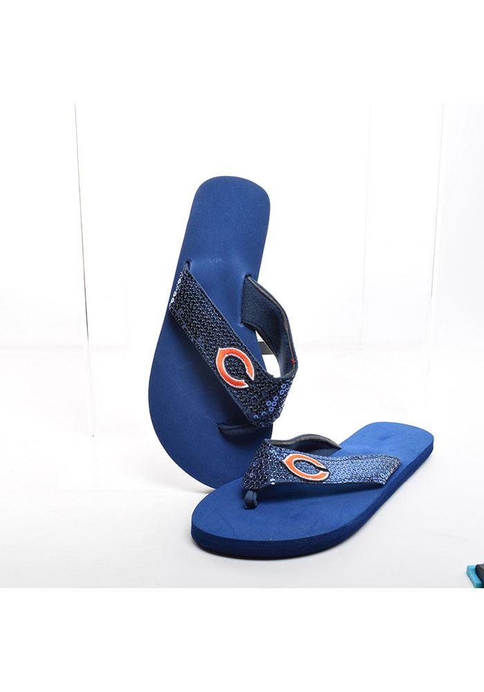 Chicago Bears Sequin Womens Flip Flops - Image 1