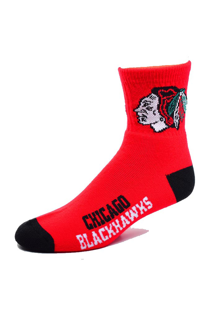 Chicago Blackhawks Logo Name Mens Quarter Socks - Image 1