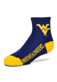 West Virginia Mountaineers Youth Navy Blue Logo Name Quarter Socks