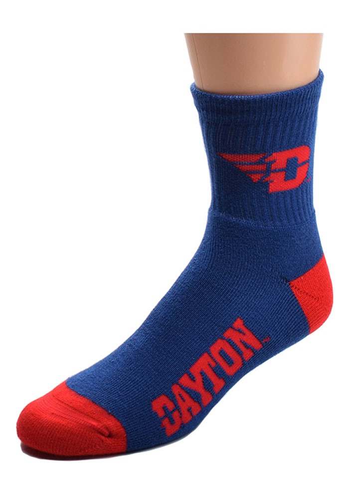 Dayton Flyers Logo Name Mens Quarter Socks - Image 1
