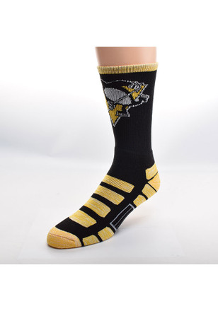 Pittsburgh Penguins Mens Black Patches Crew Socks