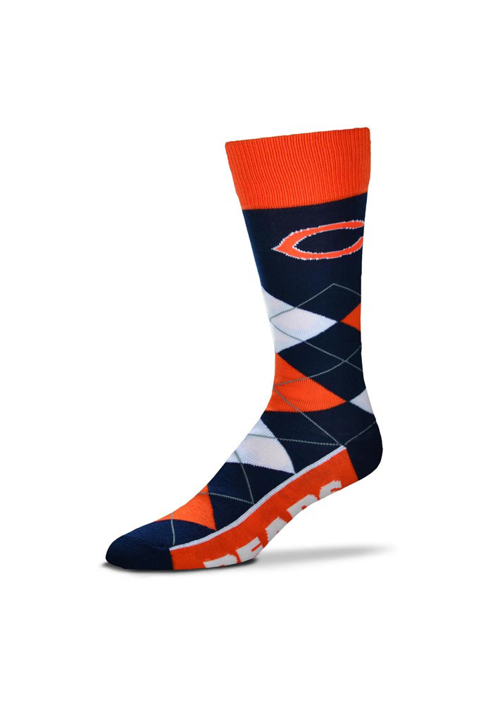 Chicago Bears Calf Logo Argyle Socks - Black