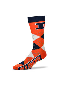 Illinois Fighting Illini Calf Logo Argyle Socks - Orange