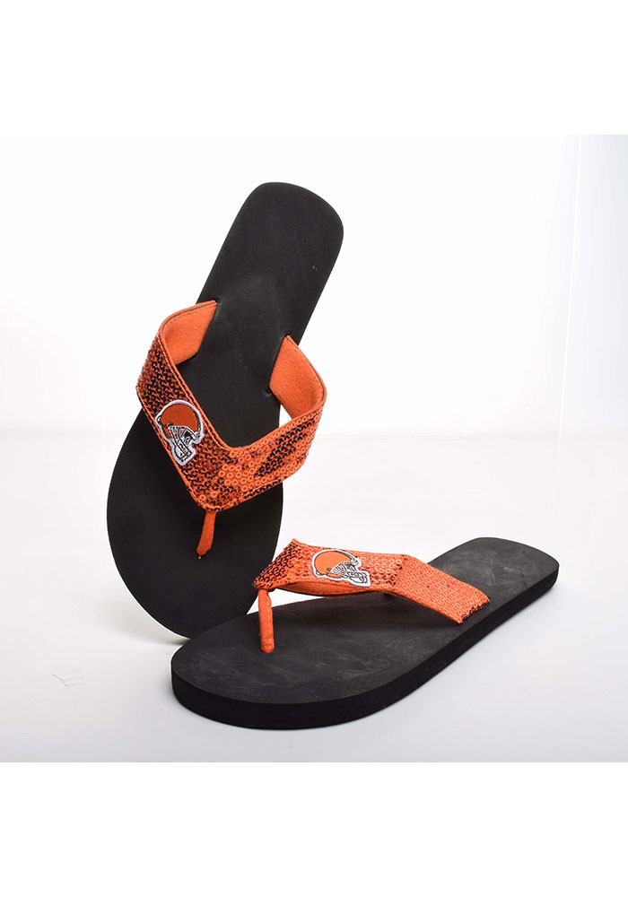 Cleveland Browns Sequin Womens Flip Flops - Image 1