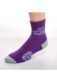 TCU Horned Frogs Logo Name Quarter Socks - Purple