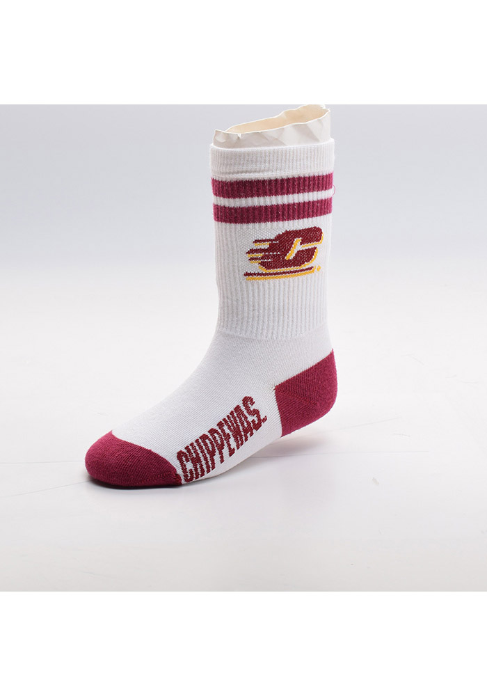 Central Michigan Chippewas 2 Stripe Baby Quarter Socks - Image 1