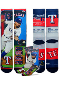 Rougned Odor Texas Rangers For Barefeet Originals Trading Card Crew Socks - Blue