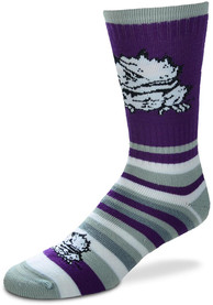 TCU Horned Frogs Lotta Stripe Crew Socks - Purple