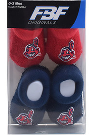 Cleveland Indians Baby Team Logo Bootie Boxed Set - Navy Blue