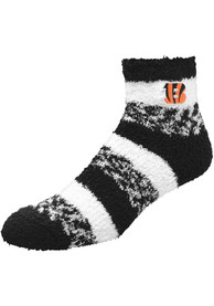 Cincinnati Bengals Womens Stripe Quarter Socks - Black