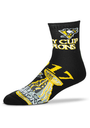 Pittsburgh Penguins Mens Black 2017 Stanley Cup Champions Quarter Socks