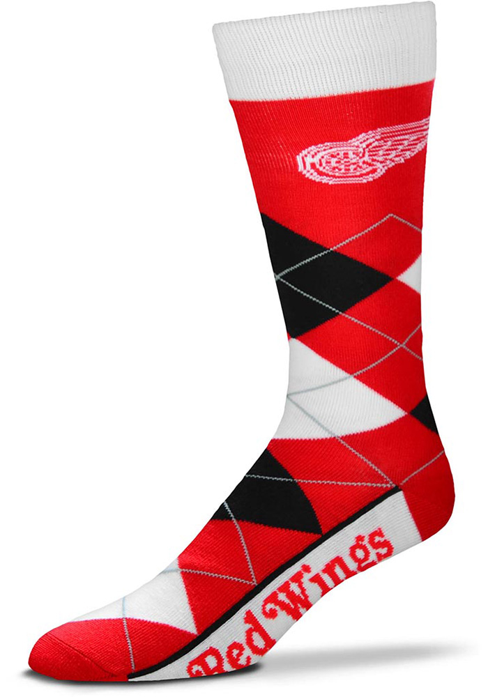 Detroit Red Wings Team Logo Argyle Socks - Red