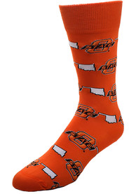 Oklahoma State Cowboys state and logos all over Dress Socks - Orange