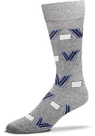 Villanova Wildcats state and logos all over Dress Socks - Blue