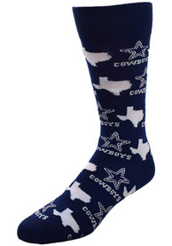 Dallas Cowboys Womens state and logos all over Crew Socks - Blue