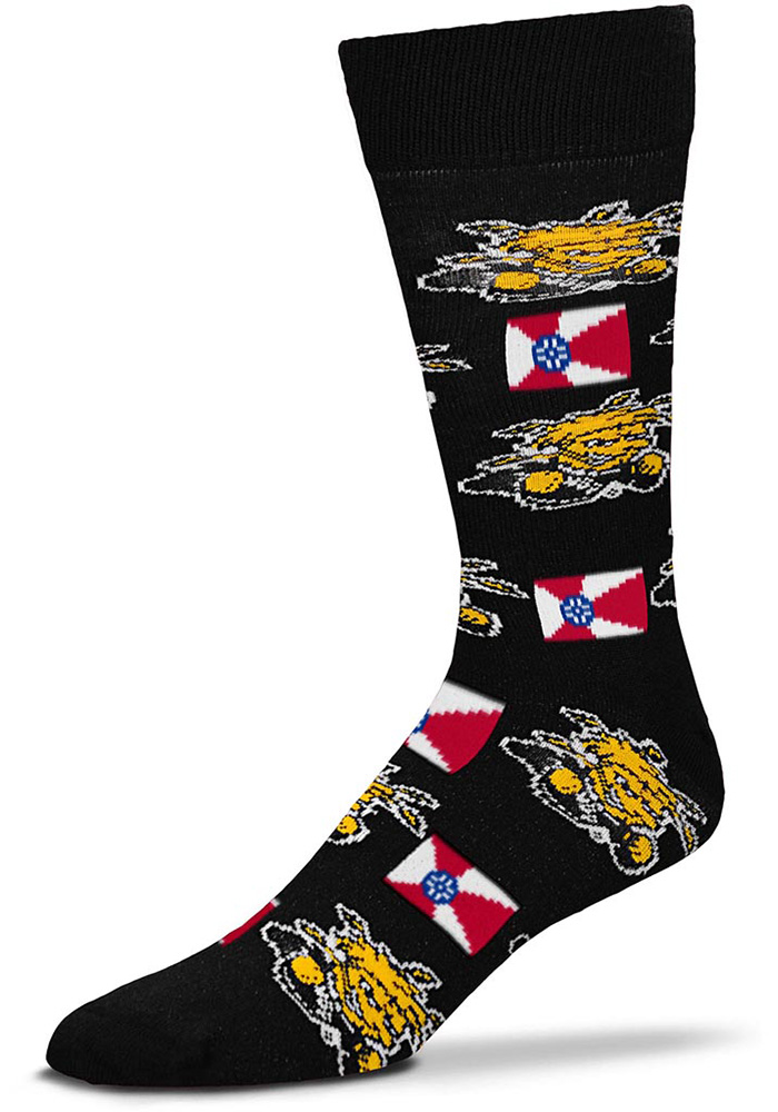 Wichita State Shockers state and logos all over Dress Socks - Yellow