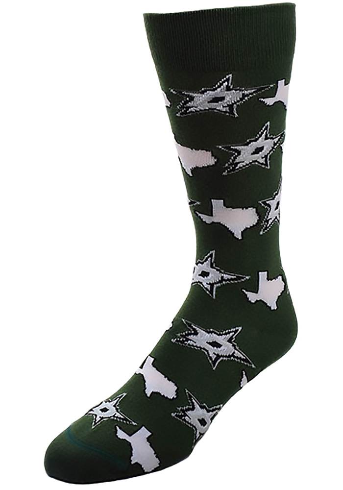 Dallas Stars state and logos all over Womens Crew Socks - Image 1