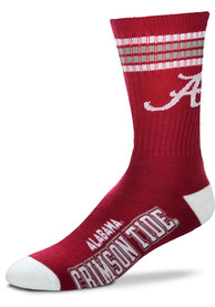Alabama Crimson Tide 4 Stripe Deuce Crew Socks - Crimson